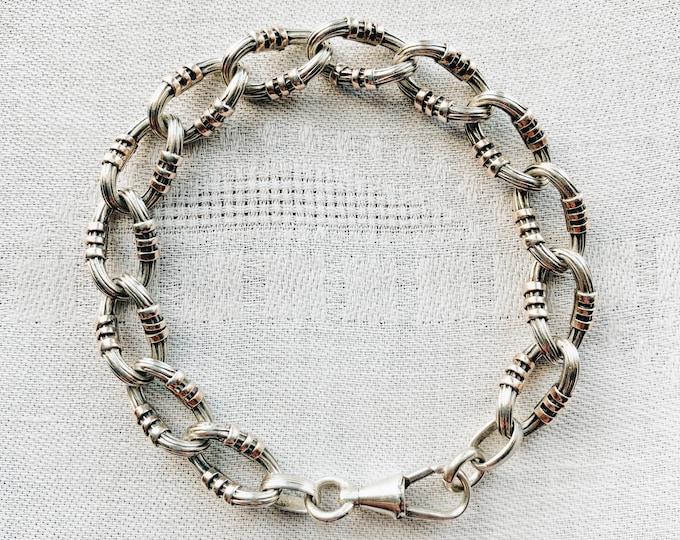 "Antique Ornate French Silver & Rose Gold Bracelet, 7.5"""