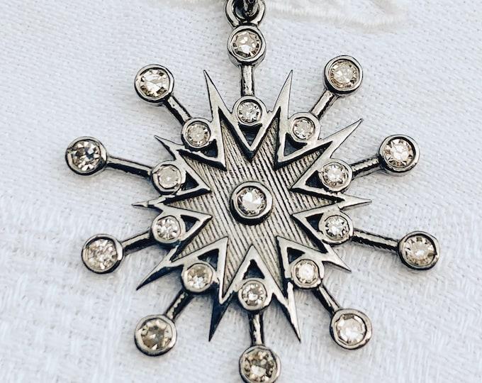 Diamond Star Pendant on Aged Silver Chain