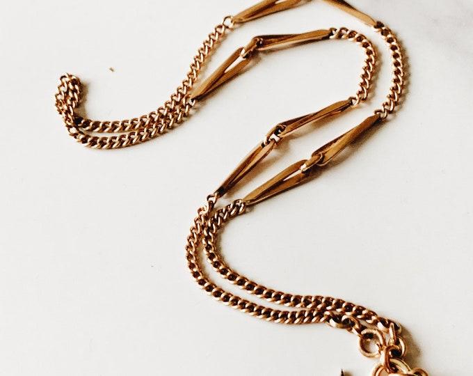 Vintage German Bar Link Chain Necklace, Gold Fill