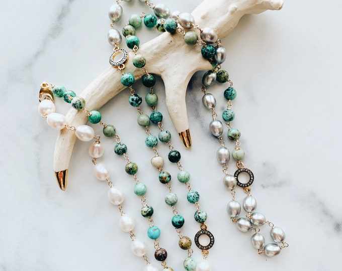 Long African Turquoise, Pearl & Diamond Sautoire