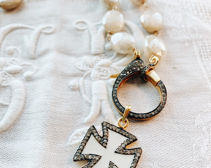 Diamond & Enamel Cross Pattée Pendant