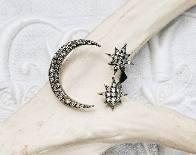 Moon & Stars Diamond Ring, Adjustable