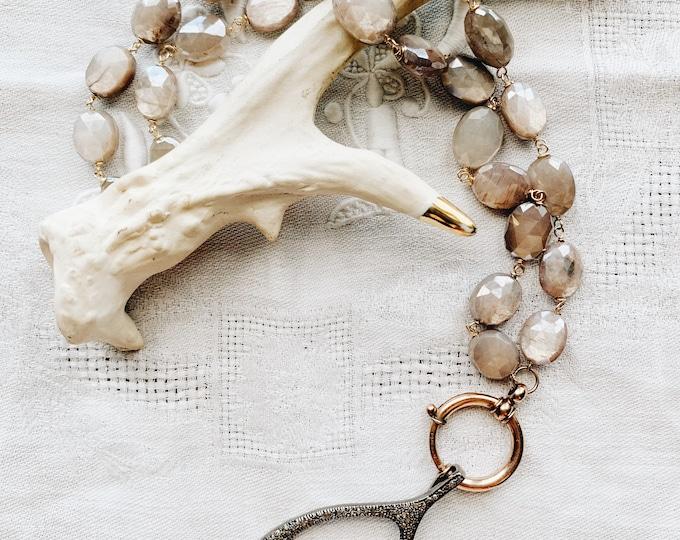 Gray Moonstone & Antique Bolt Clasp Necklace