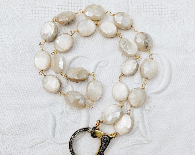 Moonstone Necklace with Large Diamond Clasp, 2-Tone Silver & Gold