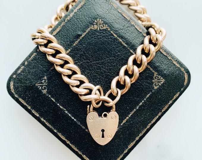 Antique Curb Link Bracelet with Heart Padlock