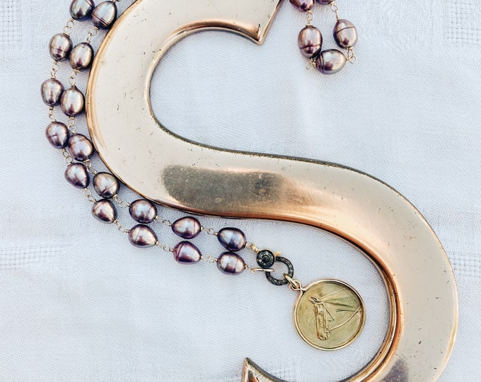 Purple Pearl Necklace with Diamond Clasp