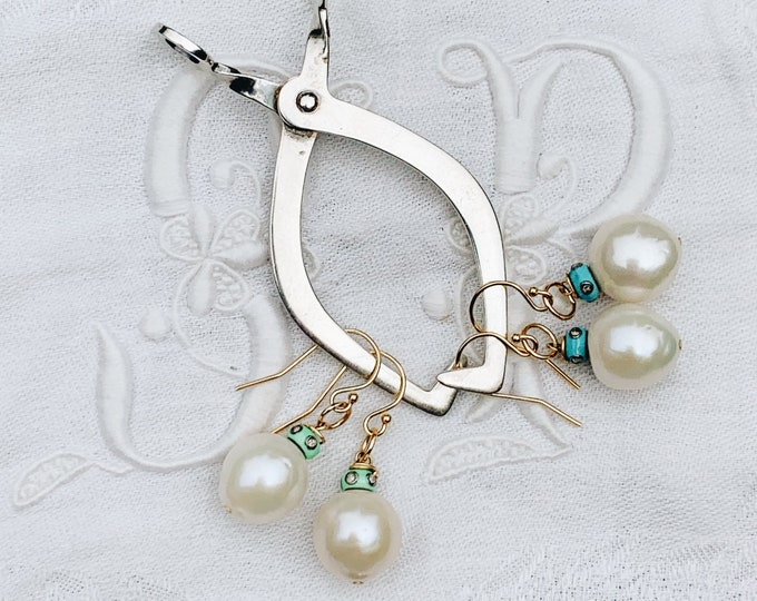 Diamond & Enamel Cap Pearl Earring, Mint or Aqua