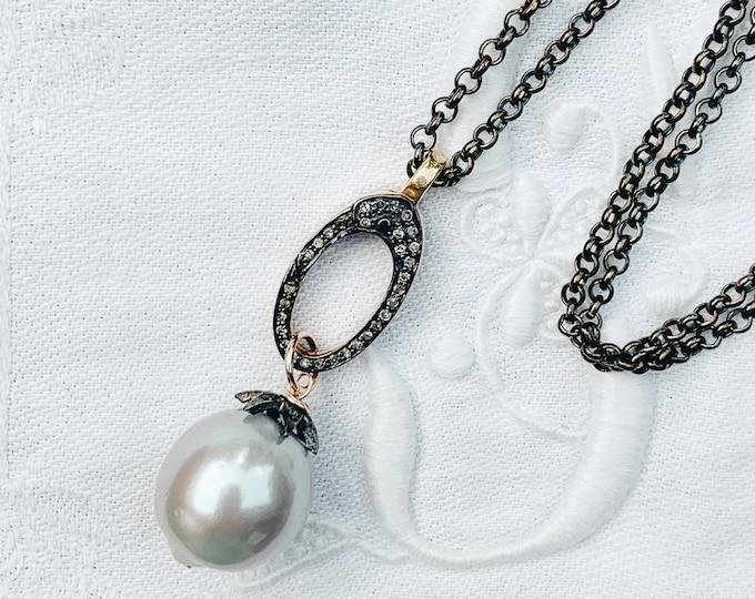 Long Diamond & Pearl Pendant Necklace