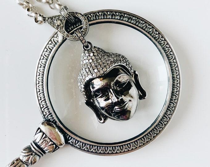Pavé Diamond Buddha Head Pendant
