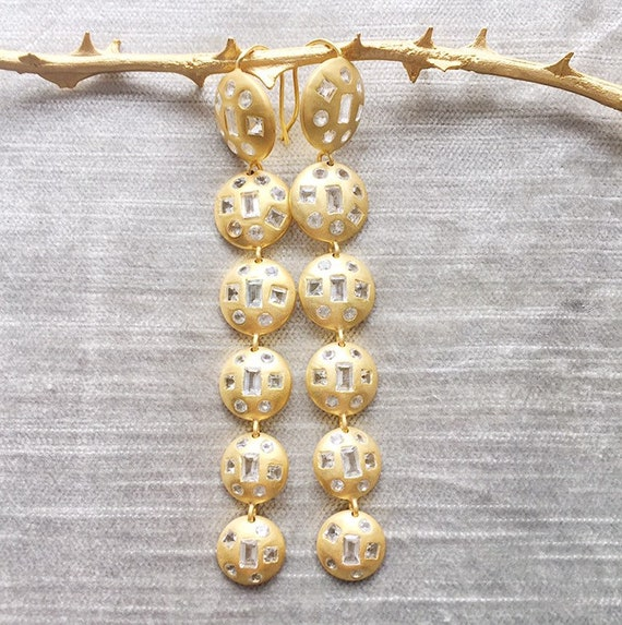 Geometric White Topaz and Matte Gold Chandelier Earrings