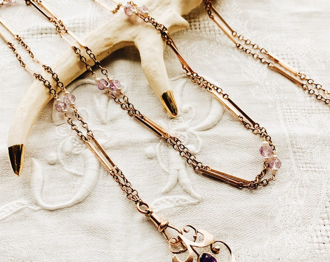 Long Antique Bar Link Guard Chain Necklace with Faceted Amethyst & Seed Pearl Stations, Rolled Gold