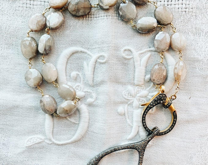 Gray Moonstone Necklace with Large Diamond Clasp