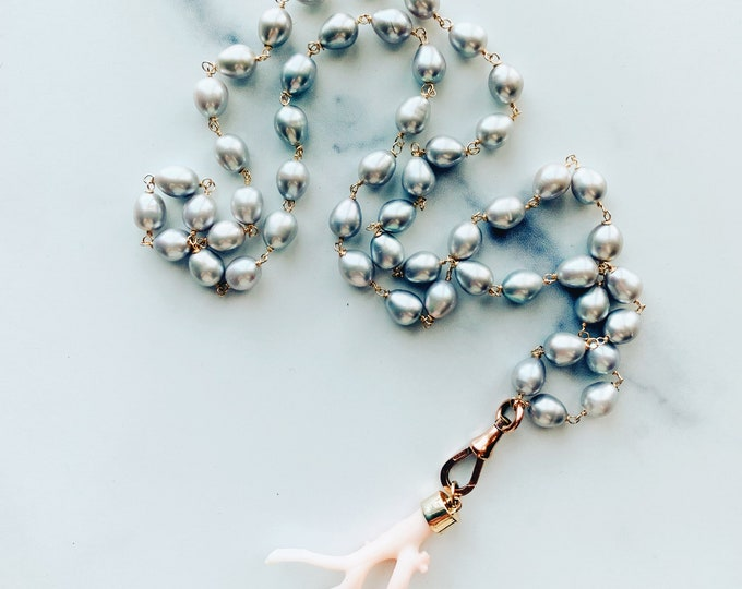 Gray Pearl Necklace with Antique Dog Clip