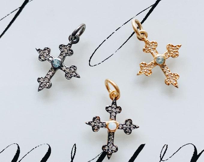 Small Diamond Medieval Cross Charm, Gemstone Center