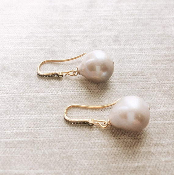 Large Gray Baroque Pearl Earring with Diamonds