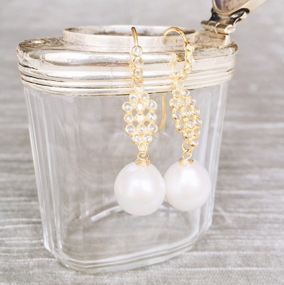 White Baroque Pearl and White Topaz Chandelier Earring, Gold Vermeil