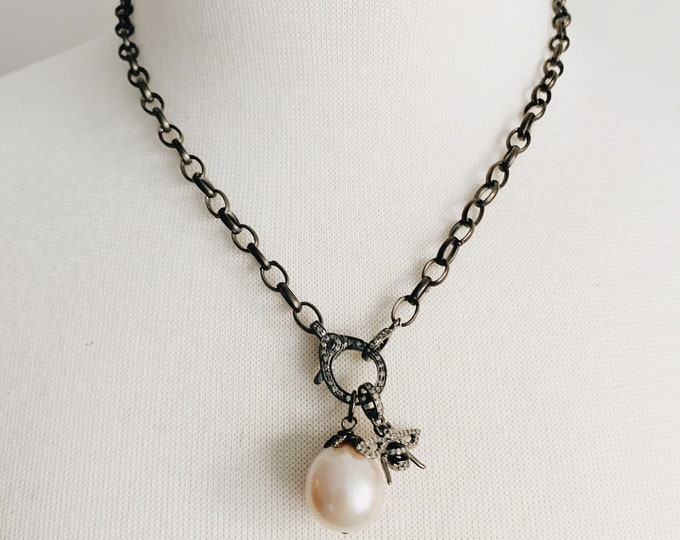 Oxidized Silver Chain with Diamond Clasp