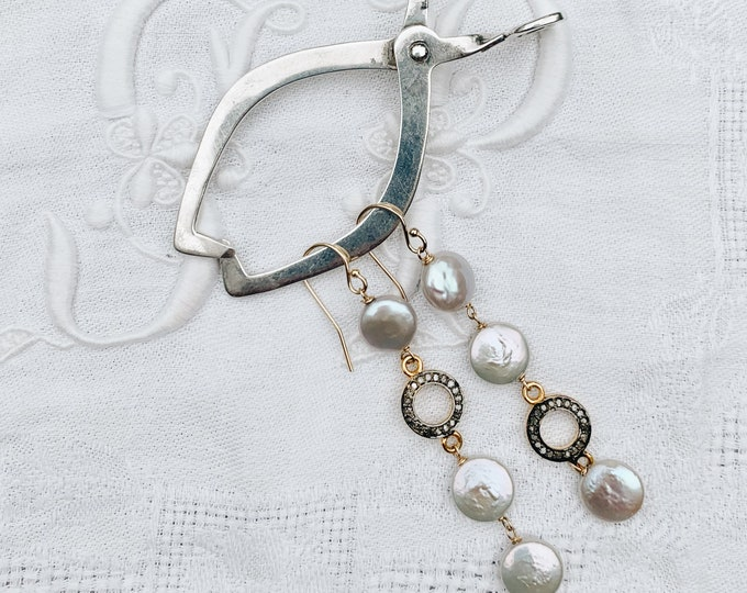 Mixed Metal Coin Pearl & Diamond Circle Dangle Earrings