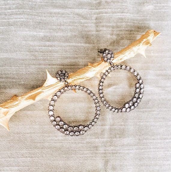 Large White Topaz Hoop Earrings, Gold or Aged Silver finish