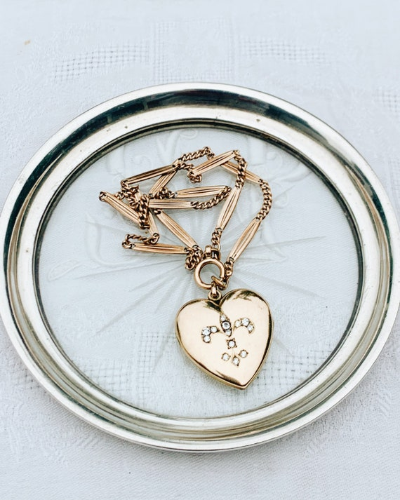 Edwardian Heart Locket with Paste 'Fleur de Lis'