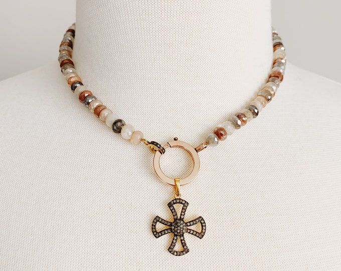 Multicolor Moonstone Choker with Antique Rolled Rose Gold Bolt Clasp