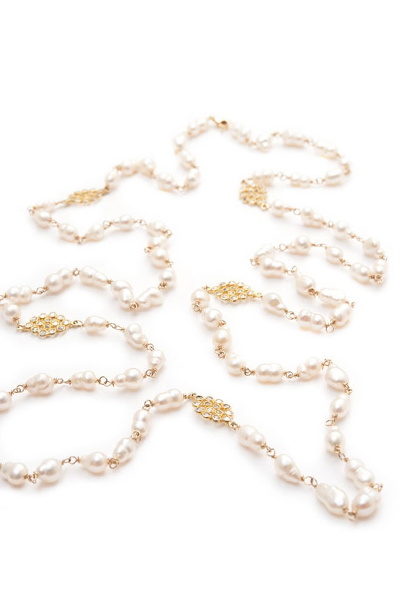 Long White Pearl & White Topaz Necklace in Gold Vermeil