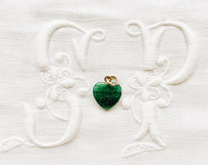 Dainty Antique Green Jade Heart Charm