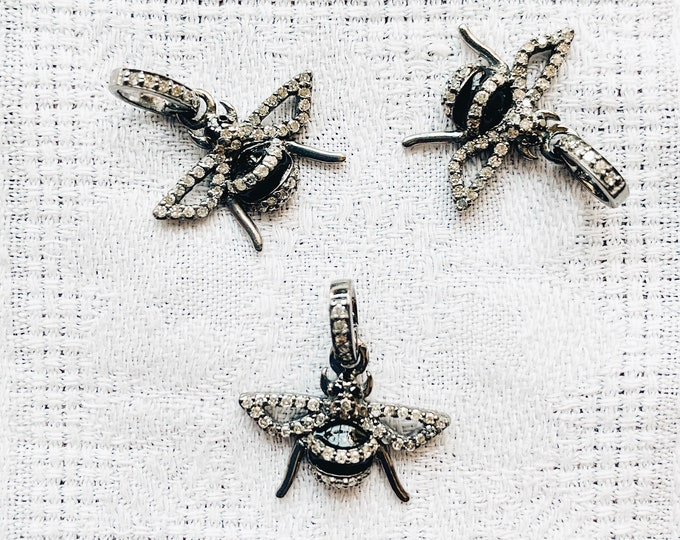 Diamond & Black Enamel Bee Charm