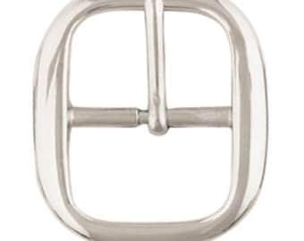 "Silver Belt Buckles - Belt Making Supplies, 1-1/4"" Buckle Hardware - Center Bar"