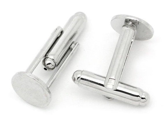 100 Pieces Cufflink with 11mm Blank Pad Nickel plated FREE UK POSTAGE!