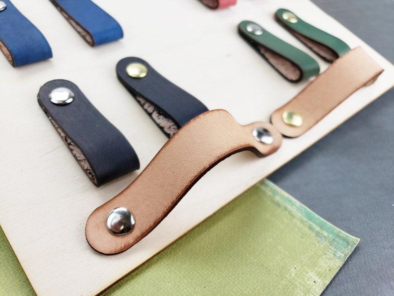 Leather Drawer Handles Leather Cabinet Pulls Leather Knob Leather Drawer  Pulls Leather Furniture Handles Scandi MCM Hardware Custom Leather