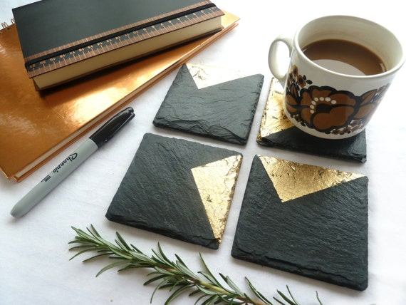 choose set size placemats new home gift geometric home Slate /& Silver coasters handmade luxury UK silver or gold choose copper