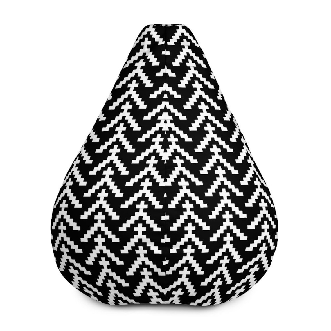 IKAT Bean Bag Chair WITH filling, Clean design, Black base with white detail, Kids Chair, Adult Chair, Gaming Chair, great for Movie Night
