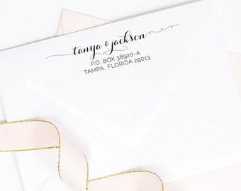 Custom return address rubber stamp - whimsical script calligraphy - wood handle or self inking for envelopes - TP002