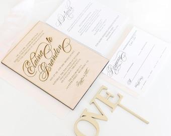 Real wood engraved wedding invitation for boho rustic wedding - DEPOSIT