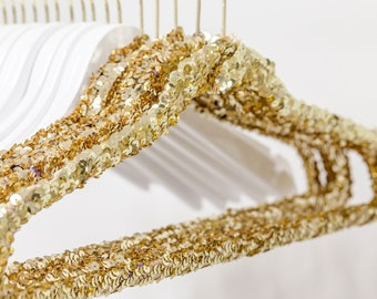 Gold sequin hanger for boutique, bridal gown wedding party bridesmaids gift, sparkle custom hanger