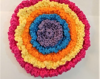 Colorful Hot Pad, Trivet, Cottage Decor, Crocheted Hot Pad, Retro, Old Fashioned, Potholder, Handmade, Yarn Potholder, Hostess Gift