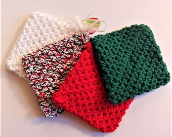 Christmas Coasters (set of 4), Crocheted Coasters, Handmade Coasters, Unique, Gift for Teacher, Holiday Gift, Yarn, Hostess Gift, New House