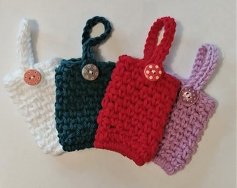 Hand sanitizer holder, Crochet, button closure, COVID 19, Sanitizer holder, Book bag accessory, Backpack accessory, Keychain