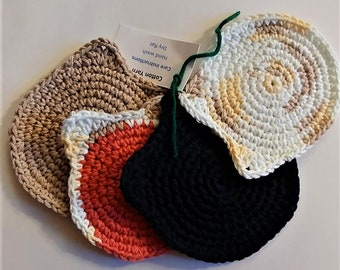 Crocheted Coasters, Set of 4, Handmade Coasters, Unique, Gift for Teacher, Gift for a Man, Yarn, Hostess Gift, New House, Camo, Cabin Decor