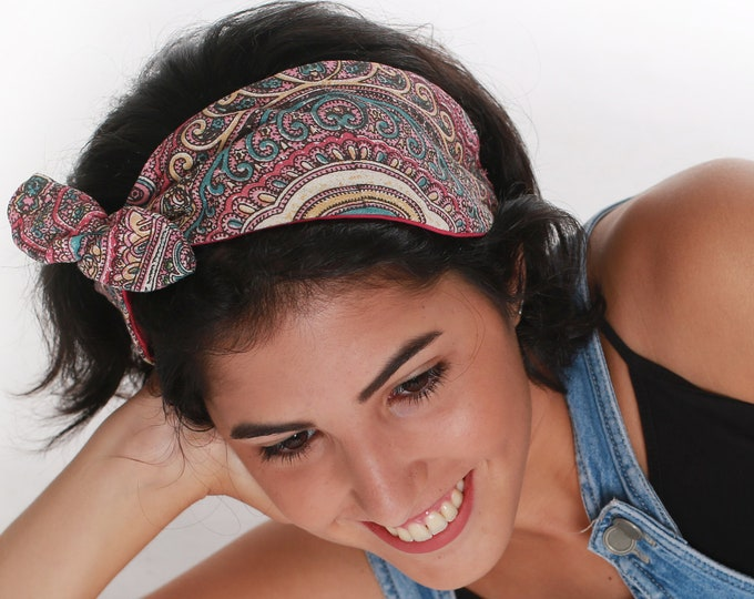 Bold Tropical Printed Tie Knot Headband For Girls