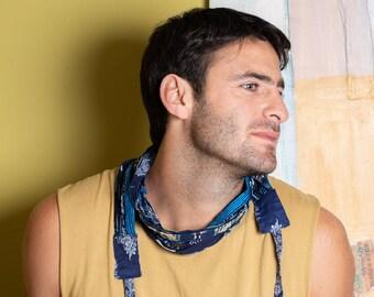 Blue scarf for man festival clothing mens burning men costume, men's necklace, rave outfit boho fashion
