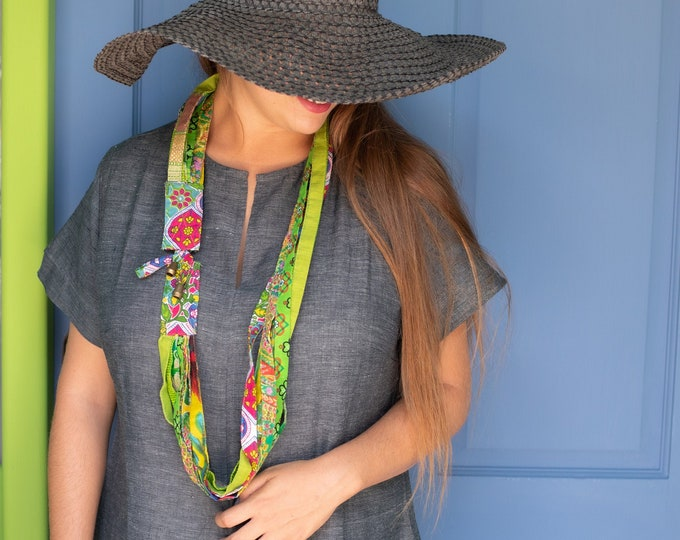 Long necklace fabric Statement necklace