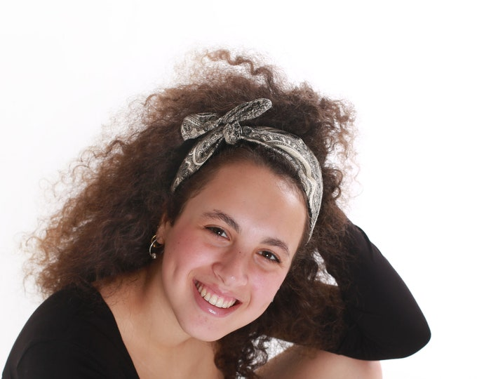 Black and White Tie Headband Retro Style gift for teen