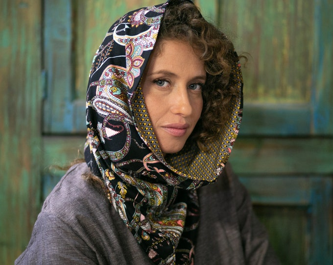 Two Toned Reversible Bohemian Hooded Scarf