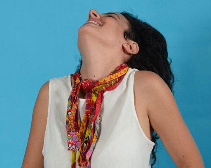 Hippie Necklace, Festival Clothing, Burning Man, Multi Strand Necklace, Colorful Fabric Necklace, Burning Man Clothing, Boho Chic Style