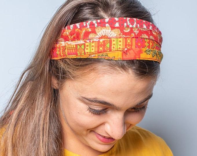 Fabric Headband, Orange Headband, Wide Headband, Hippie Headband, Boho Headband Boho Hair Accessories, striped headbands, Festival headband
