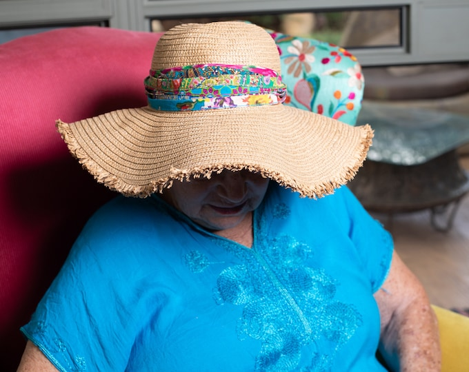 Blue Boho Accessory, Women's  hat accessory, Hat band, Ethnic clothing, Gypsy accessory, clothing decoration, Burning man clothing,