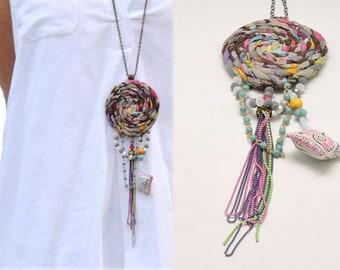 Fabric jewelry, Fiber necklace, Fabric necklace, Textile necklace,  Textile jewelry, Boho chic jewelry, Chain jewelry, Dreamcatcher jewelry,