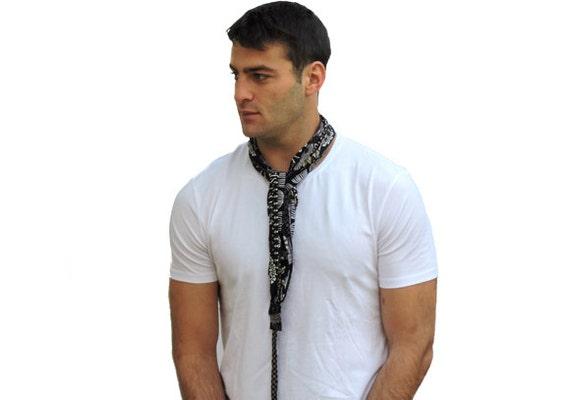 Homme noire foulard écharpe dété homme homme foulard long   Etsy f47145311d55
